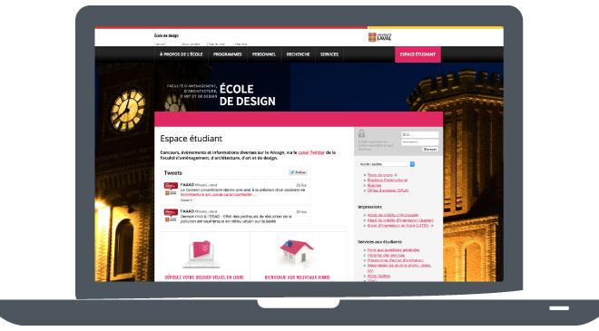 Site web de l'École de design - Espace étudiant