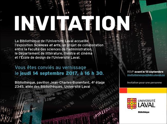 Invitation exposition Sciences et arts
